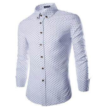 Harga Men Luxury Long Sleeve T-shirts(White)