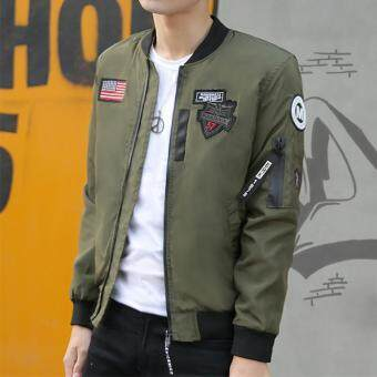 Men Slim Style Bomber Casual Embroidered Jackets Baseball Pilot Jacket(Army Green)