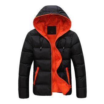 Harga Men thick padding jacket sky black coat