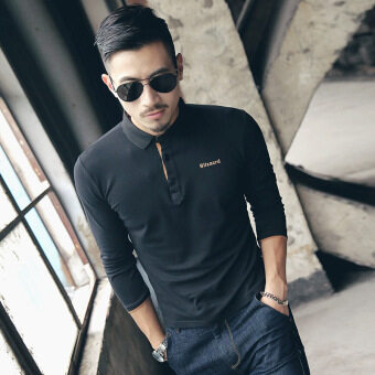 Men's Fashion Full Sleeve Cotton Casual Polos Black - 2