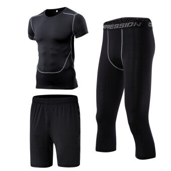 Men's Running Training Short Sleeve Quick Dry 3-piece Set (3 piece pant)