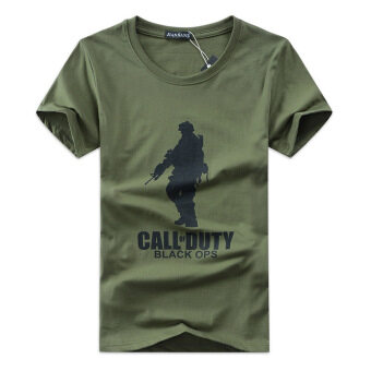 Men's Cotton Short-sleeves T-shirt Korean Version of CasualPrinting Big Soldier (Army Green)