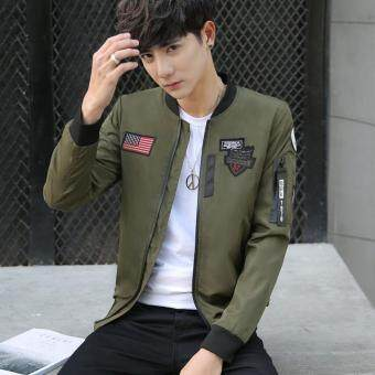 Men's Fashion Baseball Wear Men's Casual Bomber Jackets Army green