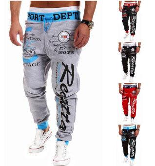Men's Fashion Casual Letters Printed Patch Pocket Sports BundleFoot Cotton Sweat Absorbent Pants Trousers Joggers(Color:Black3) - 4