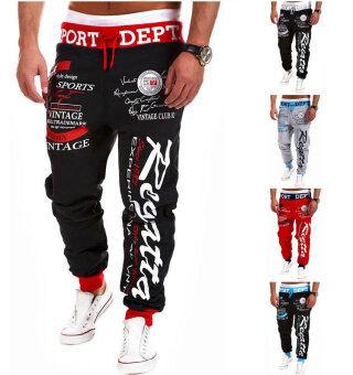 Men's Fashion Casual Letters Printed Patch Pocket Sports BundleFoot Cotton Sweat Absorbent Pants Trousers Joggers(Color:Black3) - 2