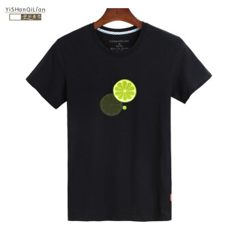 Men's Iraq shirt original round neck Cool green short-sleeved t-shirt (BLACK t-shirt with lemon slices)