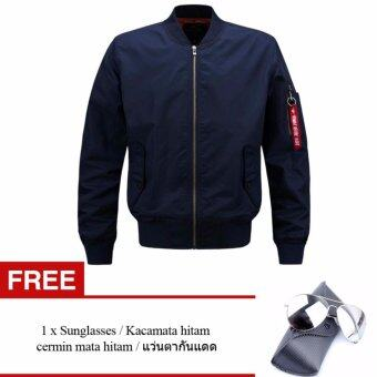 Harga Mens Solid Flight Collar Bomber Jacket(Free Mens Sunglasses)