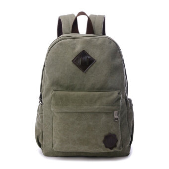 Harga Men's student canvas bag travel bag (Army green) (Army green)