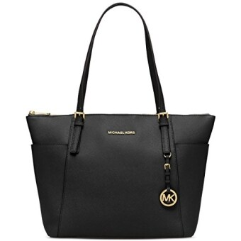 Michael Kors Jet Set Top-Zip Saffiano Leather Tote, Color 001Black/ship from USA