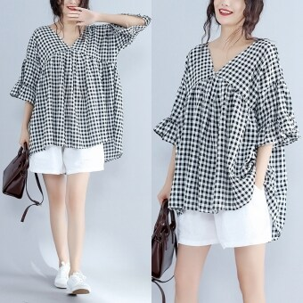 Micro fat mm doll shirt 200 of Korean-style loose Plus-sized Women's summer plaid cotton T-shirt short-sleeved Top (Red)