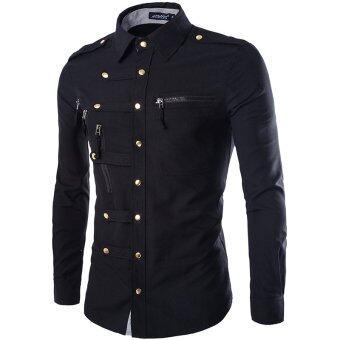 Military Style Slim Fit Brand Long Sleeve Shirt for men (Black ...