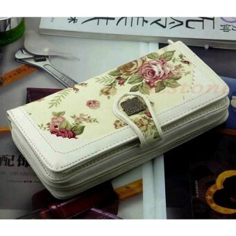 Harga Mina NewNew Women Retro Long White Flower Purse Wallet Mobile Phone Bag Buckle Handbag