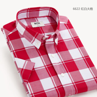 MJX summer New style plaid shirt men's business casual shirtshort-sleeved Korean-style Teenager Slim fit-inch clothes (6622)