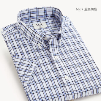 MJX summer New style plaid shirt men's business casual shirtshort-sleeved Korean-style Teenager Slim fit-inch clothes (6637)
