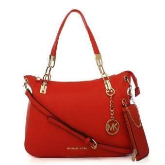 ... MK Ring Chain 2in1 Bag Set Totes Shoulder Bag Sling Bag (Red)