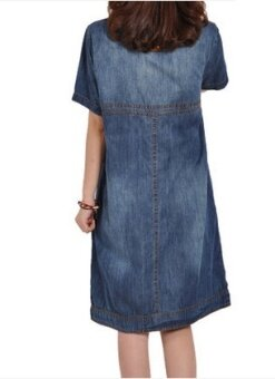 Harga MM retro spring New style loose long denim skirt (Denim blue (short sleeve))