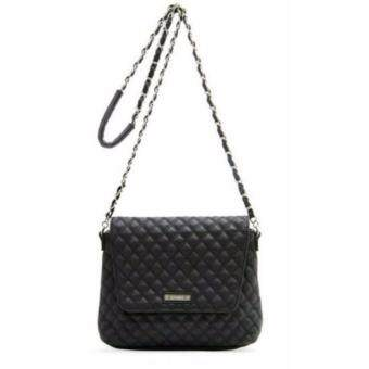Harga MNG Stylish Quilted Chain Sling Bag (Black)
