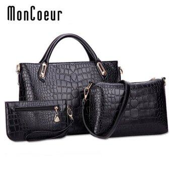 MonCoeur A01 Set of 3 in 1 Luxury Faux Crocodile Leather HandBags(Classic Black)
