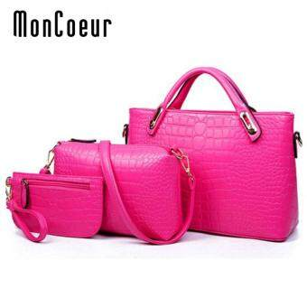 MonCoeur A01 Set of 3 in 1 Luxury Faux Crocodile Leather HandBags(Rose Pink)