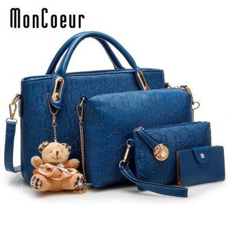 MonCoeur B04 Set of 5 in 1 Luxury Faux Crocodile Leather HandBags (Blue)