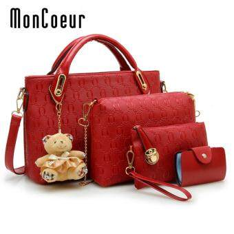 MonCoeur B04 Set of 5 in 1 Luxury Faux Crocodile Leather HandBags (Red)