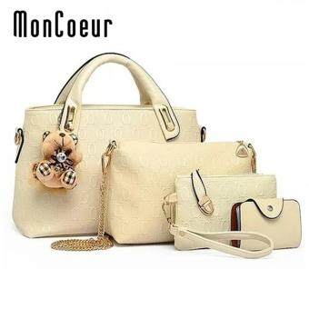 MonCoeur B04 Set of 5 in 1 Luxury Faux Crocodile Leather HandBags (White)