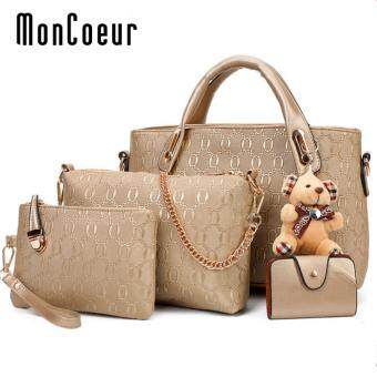 Harga MonCoeur B04 Set of 5 in 1 Luxury Faux Crocodile Leather HandBags(Gold)