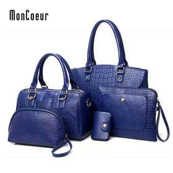 MonCoeur C01 Set of 5 in 1 Luxury Faux Crocodile Leather HandBags (Sapphire Blue)