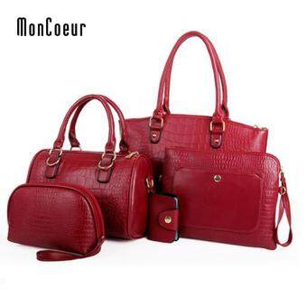MonCoeur C01 Set of 5 in 1 Luxury Faux Crocodile Leather HandBags (Wine Red)