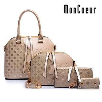 MonCoeur D002 4 in 1 European Designer Leather Handbags 4 piece Set (Gold)