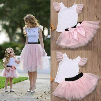 Harga Mother and Daughter Casual Summer T-shirt Skirt Tulle DressMatching Outfits(Baby)