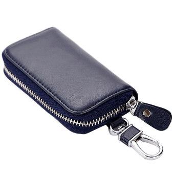Multi-functional Genuine Leather Big Capacity Folding Door Car KeyHolder Bag Credit Card Coins Cash Zipper Holder Wallet Bag RoyalBlue - 3