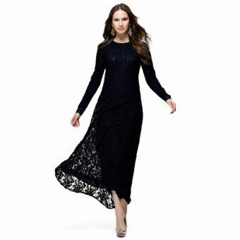 Harga Muslim maxi dress lace long sleeve dress (Black)