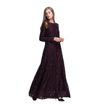Harga Muslim Vintage Style Lady Women Wear Lace Long Sleeve Maxi DressKaftan Abaya Islamic(Wine red)