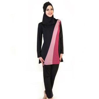 Muslim Women Spa Swimwear Islamic Swimsuit Full Face Hijab Swimming Beachwear Swimsuit Sport Clothing Black