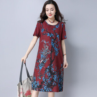 Harga National Wind Linen round neck short-sleeved long section Printdress (Red wine)