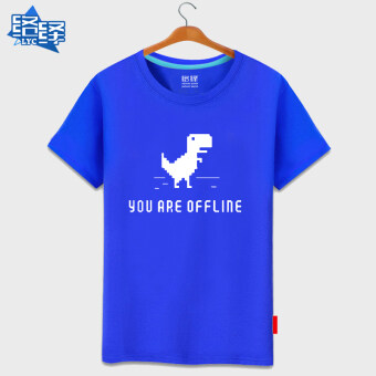 Network Yi Google Web 404 off network spoof men and womenPlus-sized Google it summer cotton short-sleeved t-shirt ShortSleeve (Blue ly dinosaur)