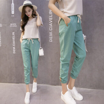 New Casual Cotton and Linen Nine Trousers Harem Pants (Green) - 4