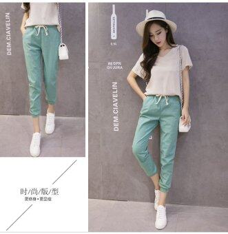 New Casual Cotton and Linen Nine Trousers Harem Pants (Green) - 5