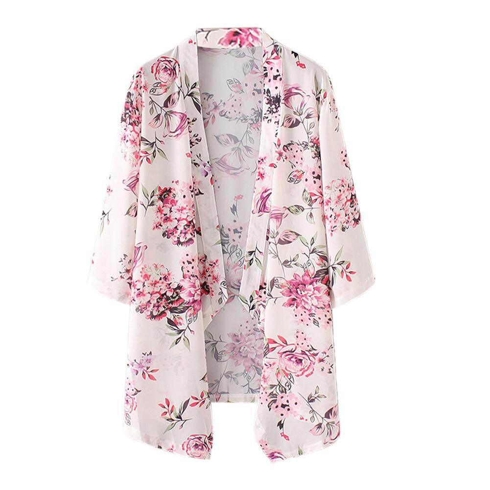 New Fashion Floral Vintage Batwing Boho Chiffon Kimono Cardigan(L ...