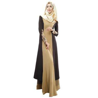 Harga New Fashion Women Muslim Dress Spliced Color Block Crochet Lace Zipper Long Sleeve Arab Maxi One-Piece