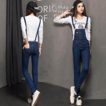 51df8bd5d97 New Jeans Pants Suspenders Ladies Denim Trousers Elastic Braces BibOveralls  for women Dungarees -Dark blue