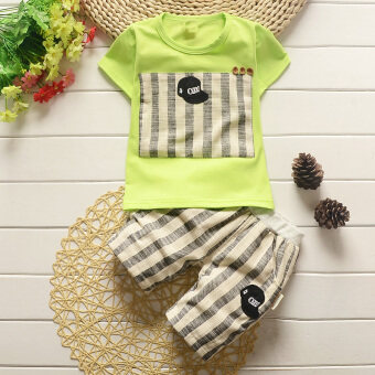 New style boys baby short-sleeved t-shirt (Summer Small Black Hat short-sleeved sets [Green])