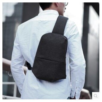 Harga New style casual spring and summer Korean-style Style High Quality chest pack men outdoor riding bag chest messenger bag small backpack (Black)