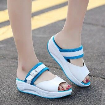 Harga New style fish head thick crust thick with the with student shookhis sandals (Blue)