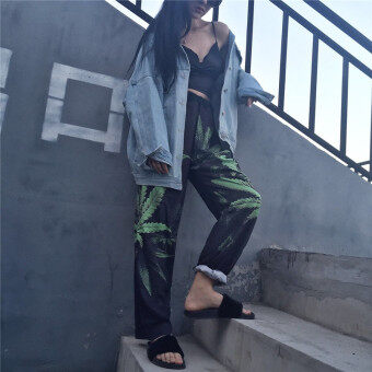 Harga New style Korean hemp leaf Print loose wide leg street flower pants