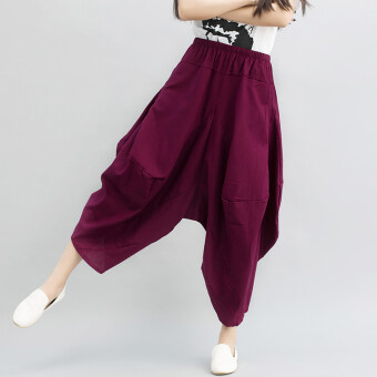Harga New style Linen big crotch national wind pantyhose pants (Red wine)