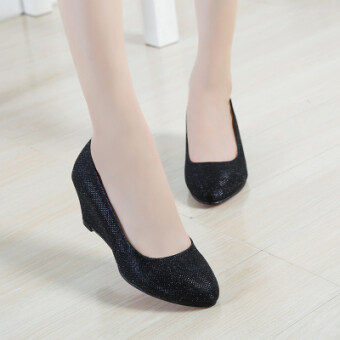 New style round shallow mouth in with slope with sequined shoes(Black)