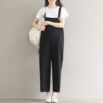 Harga New style Slim fit Slimming effect Linen black overalls