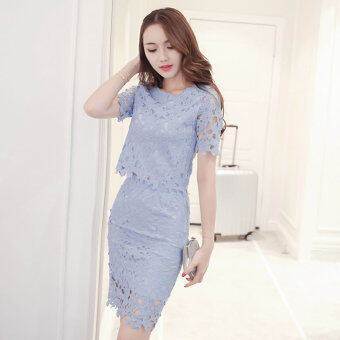 New style temperament small fragrant wind Slimming effect lacedress (Light blue)